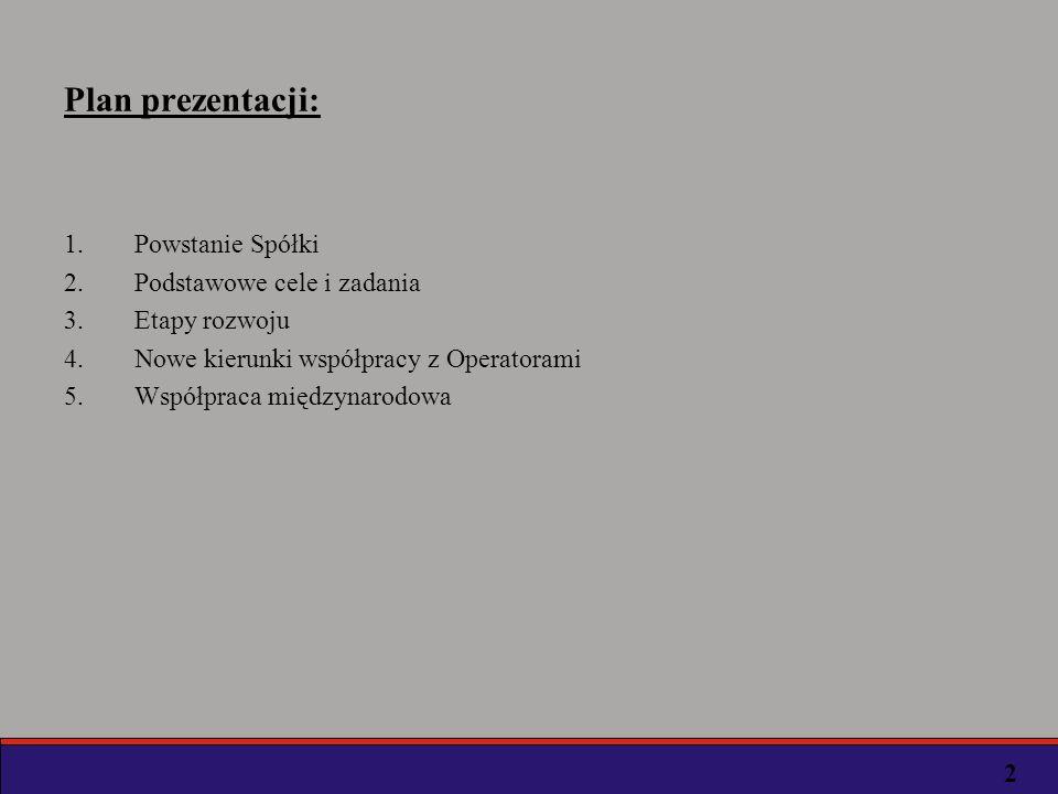 Plan prezentacji: Powstanie Spółki Podstawowe cele i zadania