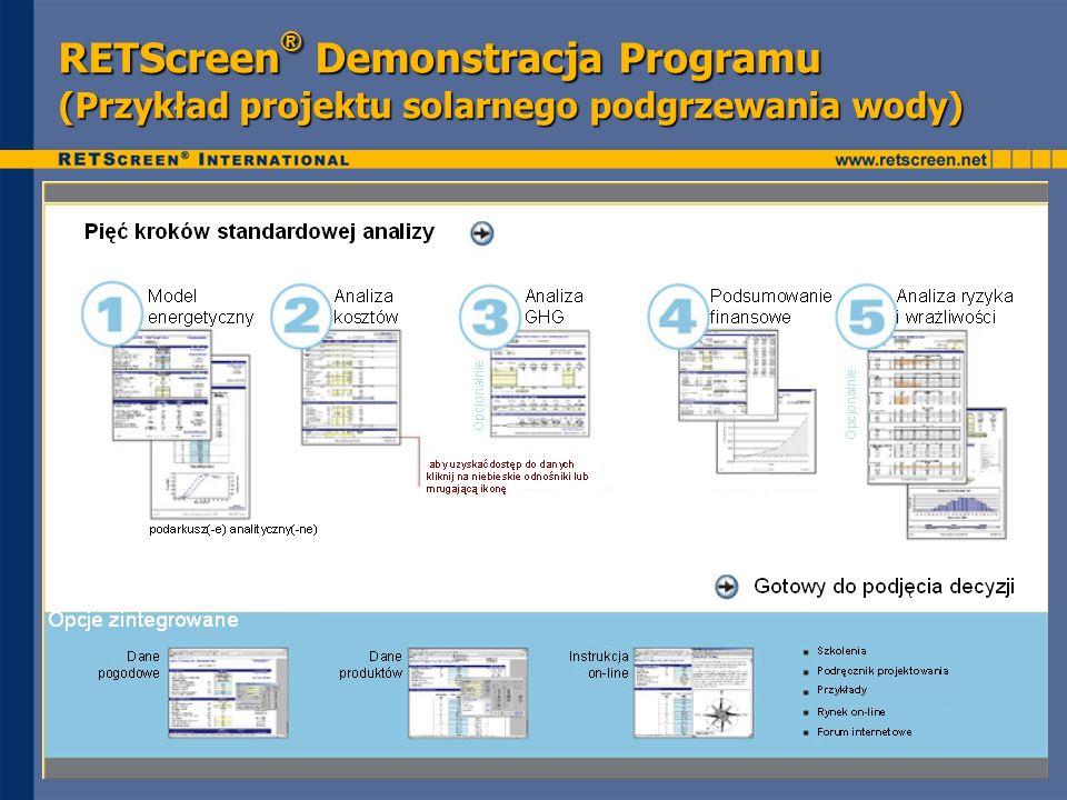 RETScreen® Demonstracja Programu (Przykład projektu solarnego podgrzewania wody)