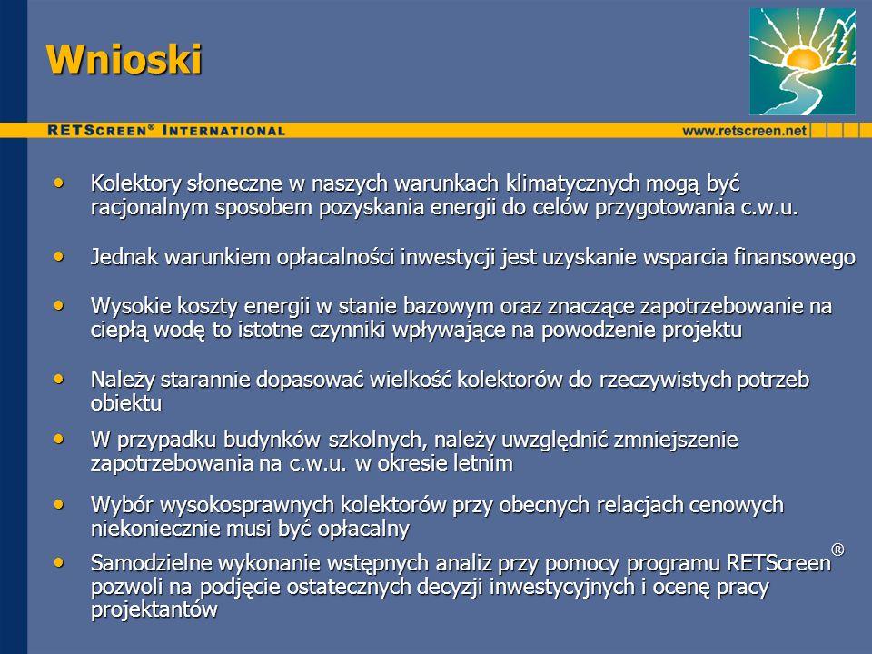 Wnioski Kolektory słoneczne w naszych warunkach klimatycznych mogą być racjonalnym sposobem pozyskania energii do celów przygotowania c.w.u.