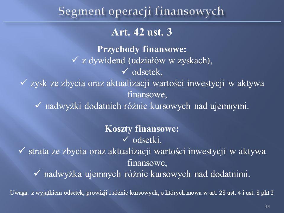 Segment operacji finansowych