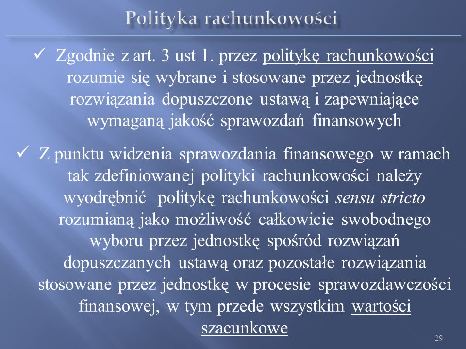 Polityka rachunkowości