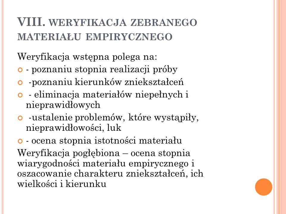 VIII. weryfikacja zebranego materiału empirycznego