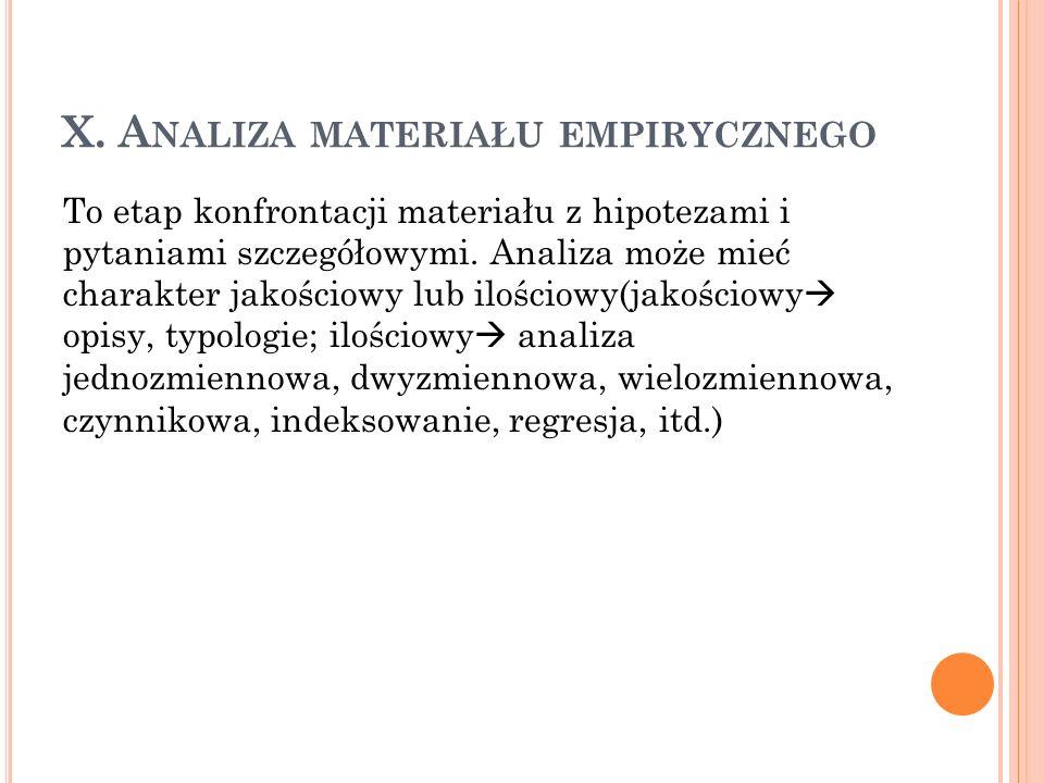 X. Analiza materiału empirycznego