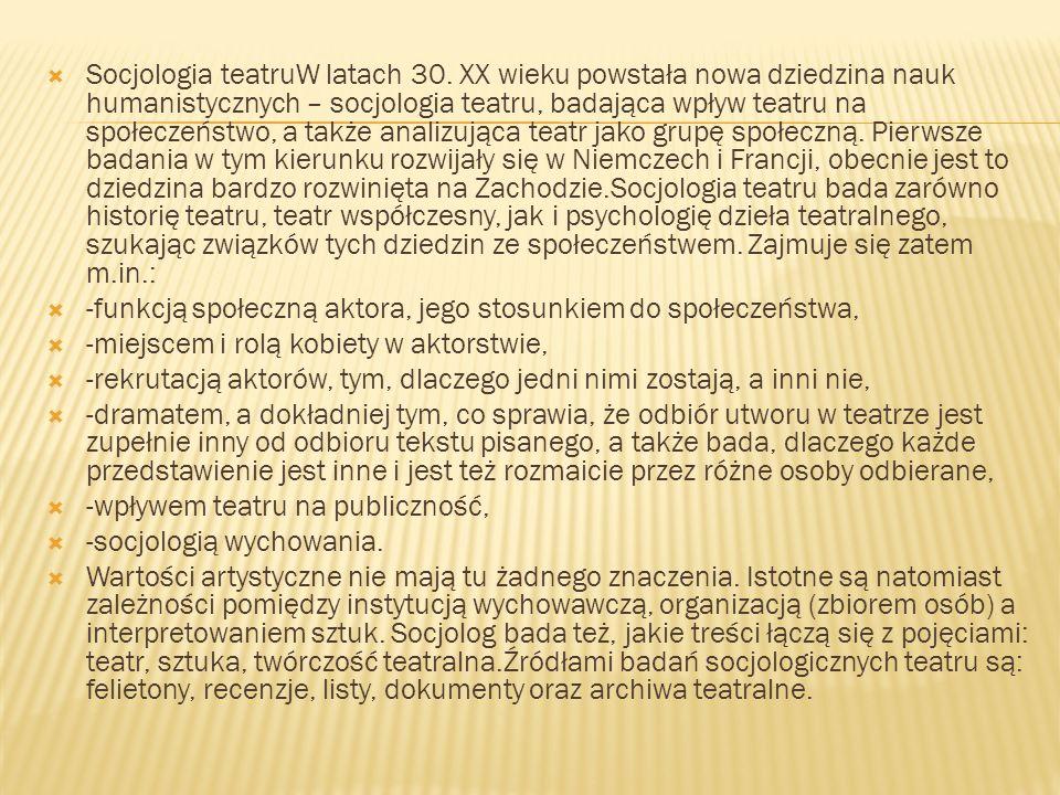 Socjologia teatruW latach 30