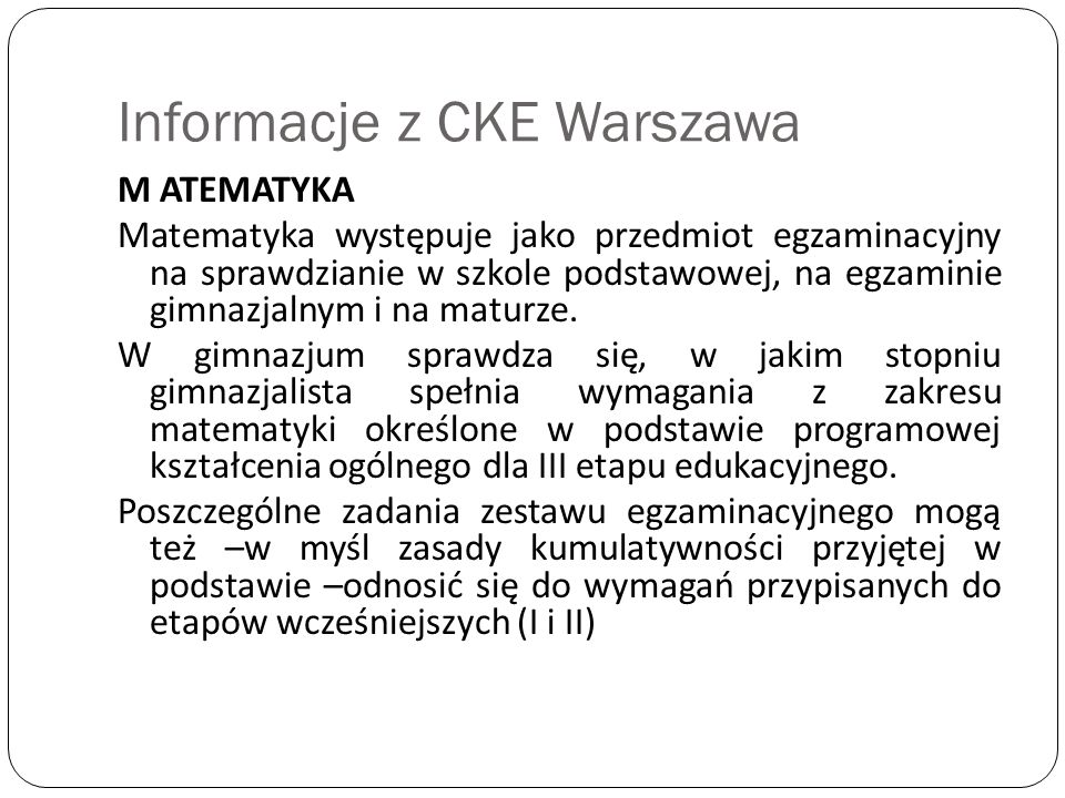 Informacje z CKE Warszawa