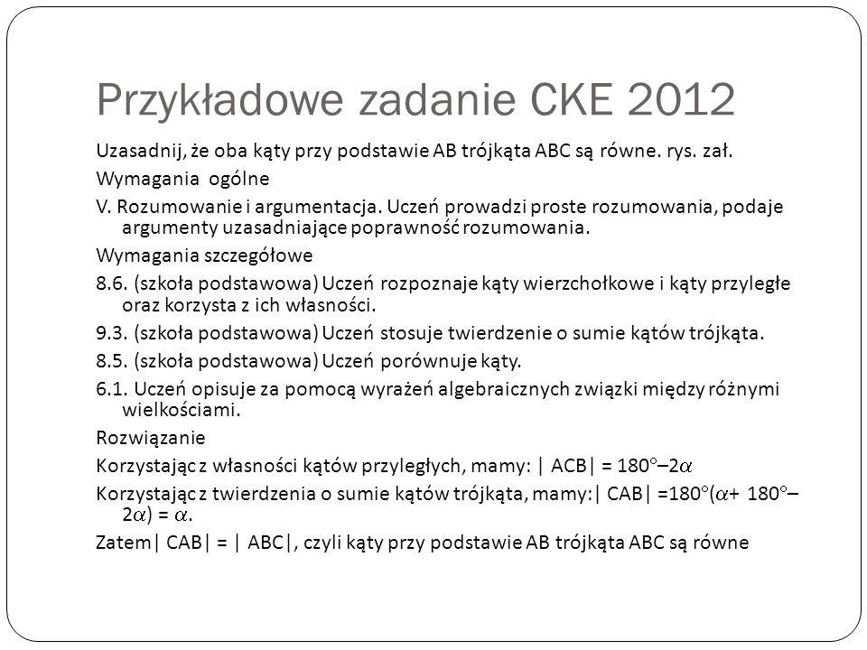 Przykładowe zadanie CKE 2012
