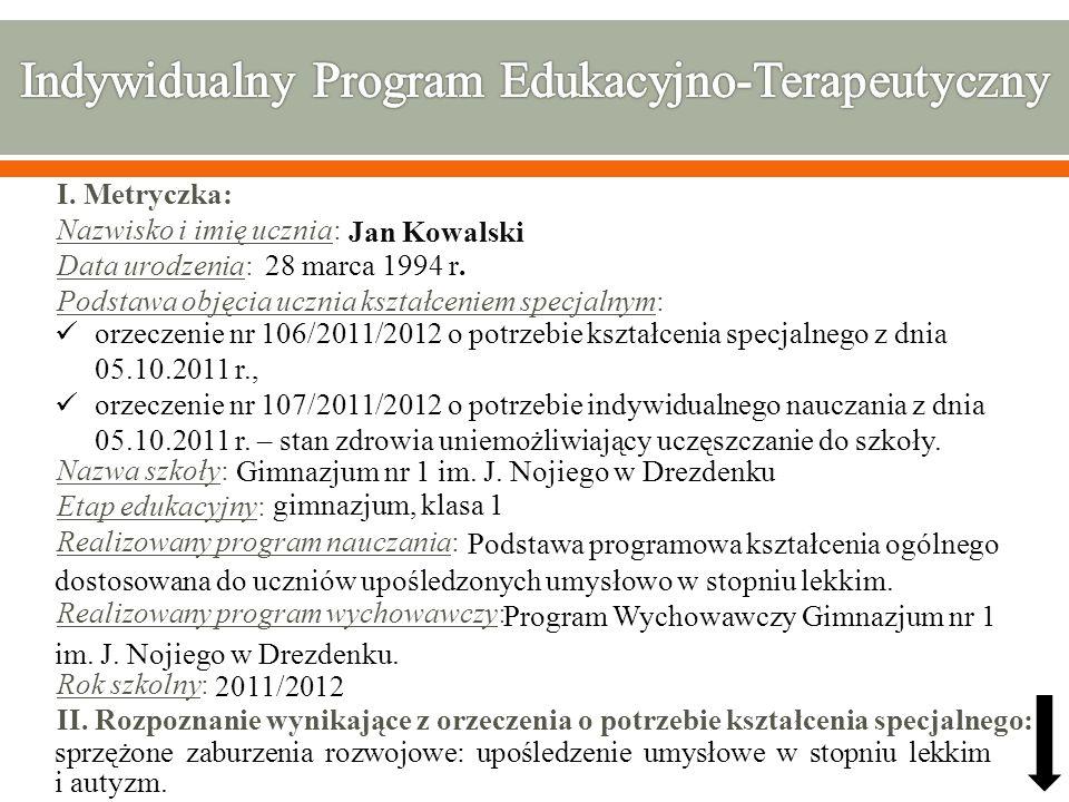 Indywidualny Program Edukacyjno-Terapeutyczny