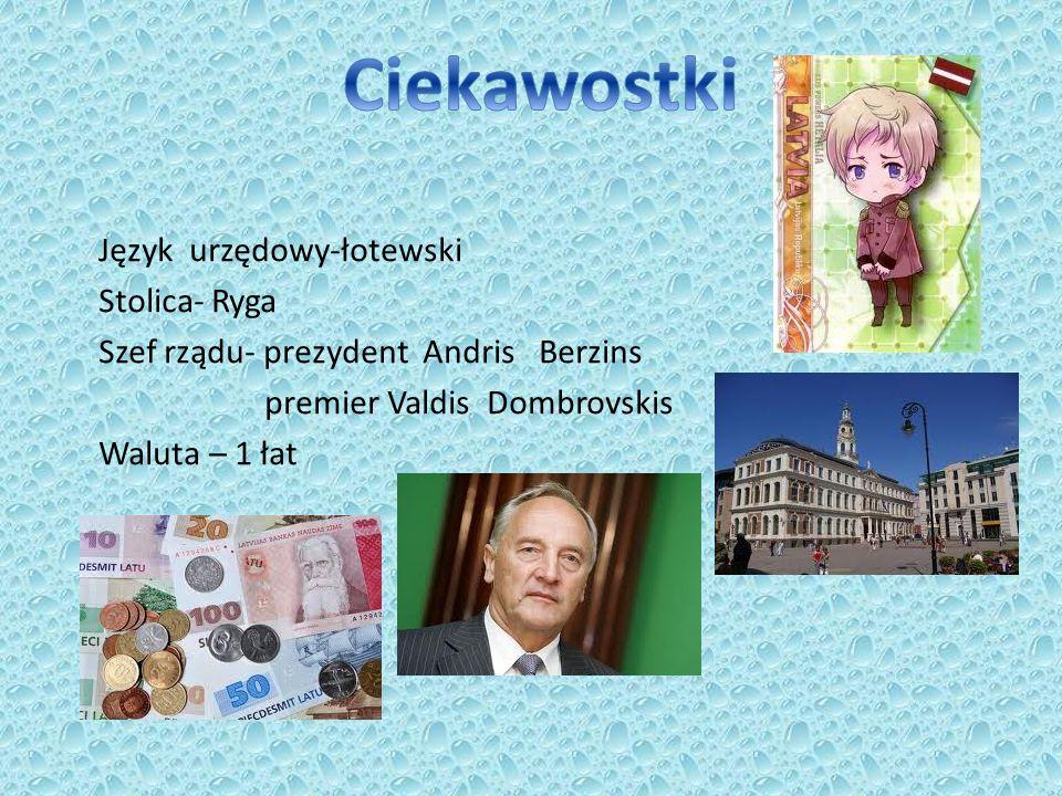 Ciekawostki Język urzędowy-łotewski Stolica- Ryga