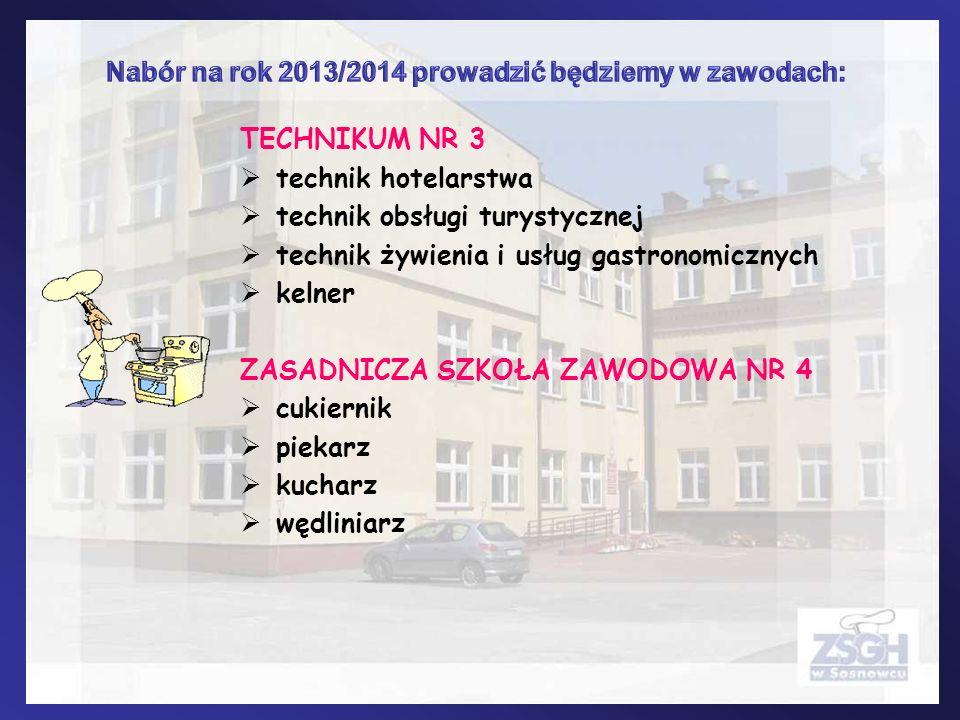 Nabór na rok 2013/2014 prowadzić będziemy w zawodach: