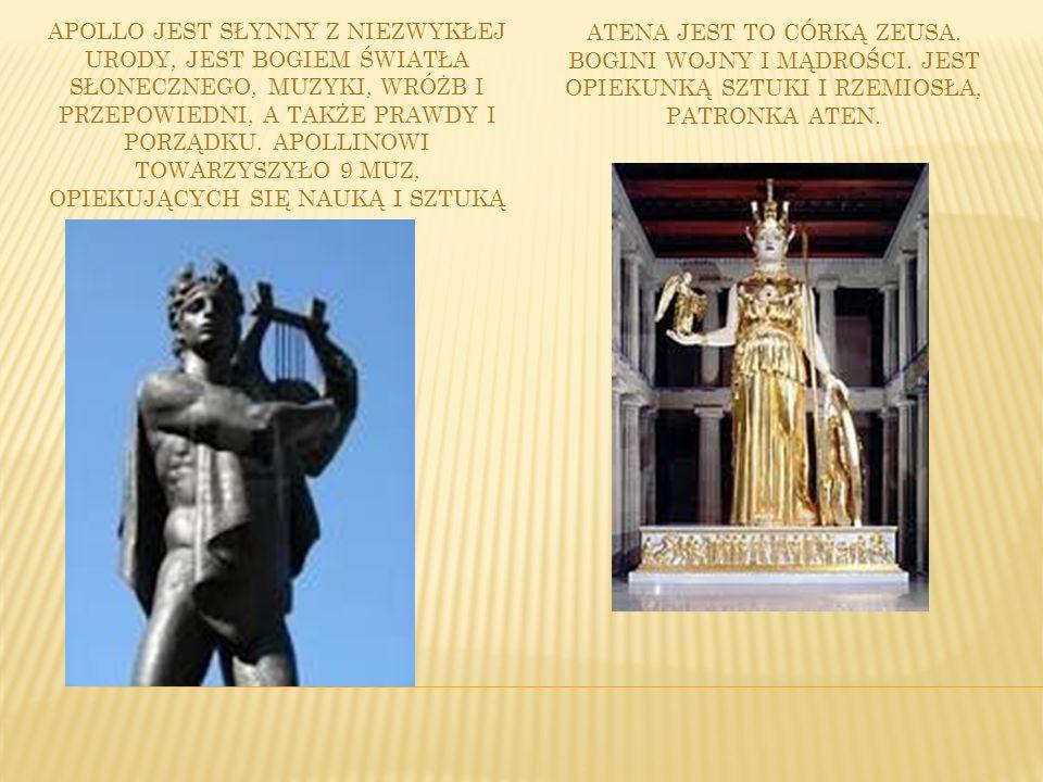 Apollo jest słynny z niezwykłej urody, jest bogiem światła słonecznego, muzyki, wróżb i przepowiedni, a także prawdy i porządku. Apollinowi towarzyszyło 9 muz, opiekujących się nauką i sztuką