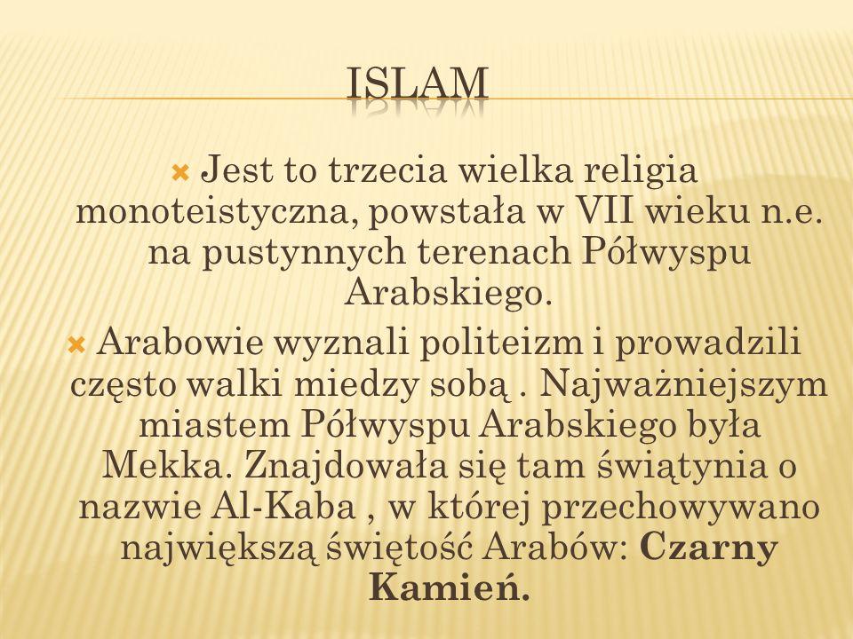 Islam Jest to trzecia wielka religia monoteistyczna, powstała w VII wieku n.e. na pustynnych terenach Półwyspu Arabskiego.