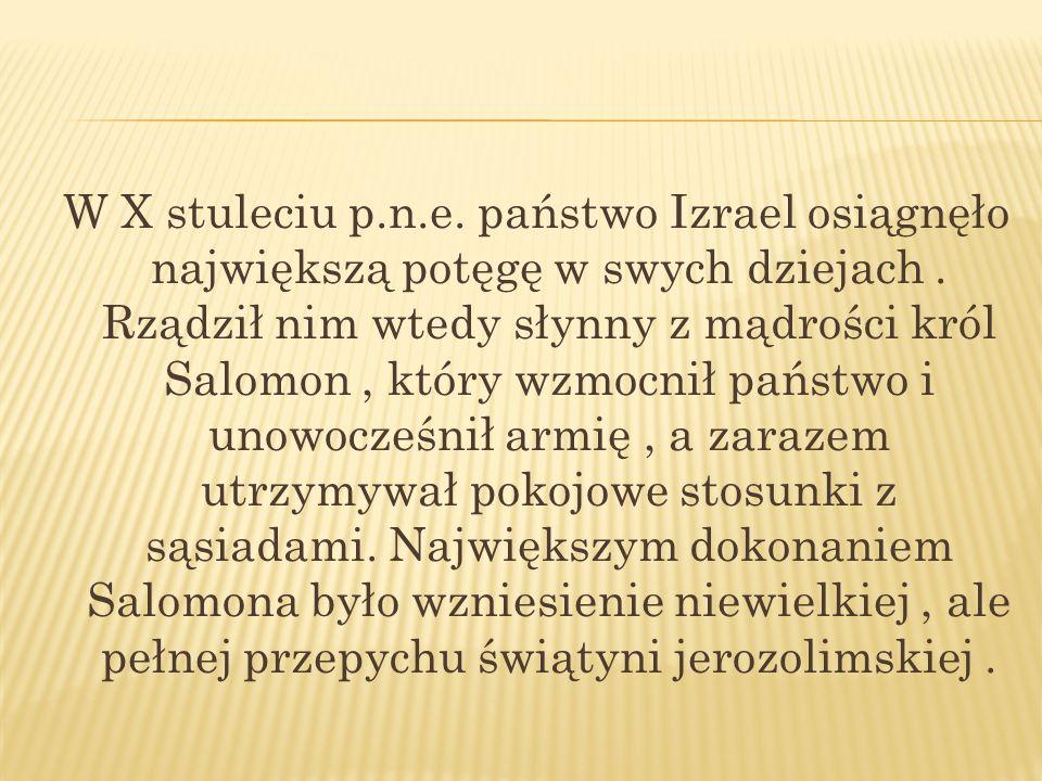W X stuleciu p.n.e.państwo Izrael osiągnęło największą potęgę w swych dziejach .