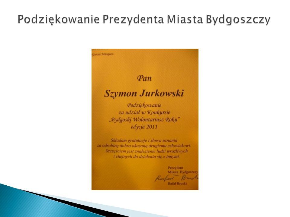 Podziękowanie Prezydenta Miasta Bydgoszczy