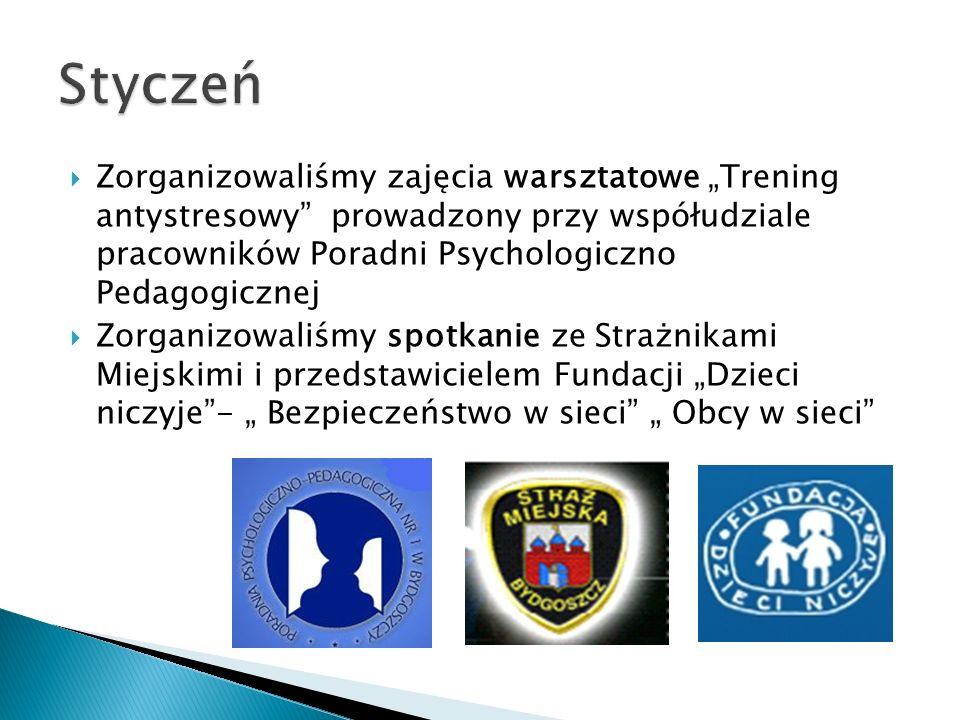 """Styczeń Zorganizowaliśmy zajęcia warsztatowe """"Trening antystresowy prowadzony przy współudziale pracowników Poradni Psychologiczno Pedagogicznej."""