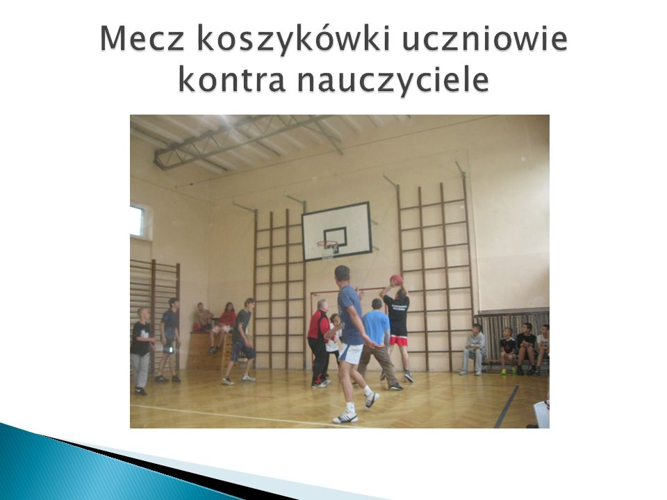 Mecz koszykówki uczniowie kontra nauczyciele