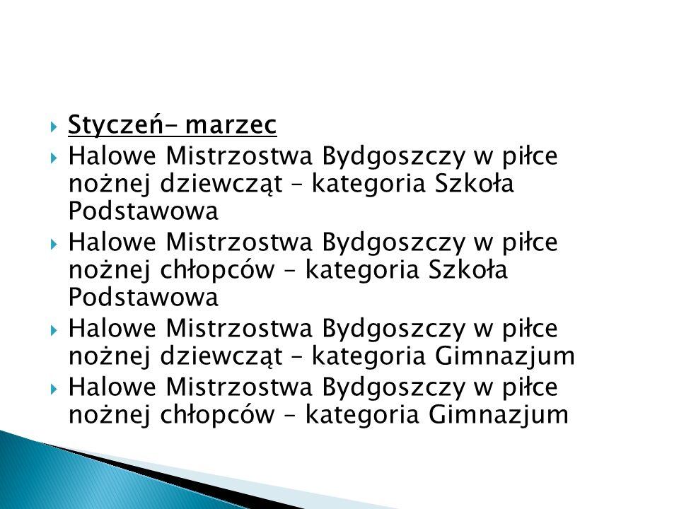 Styczeń- marzec Halowe Mistrzostwa Bydgoszczy w piłce nożnej dziewcząt – kategoria Szkoła Podstawowa.