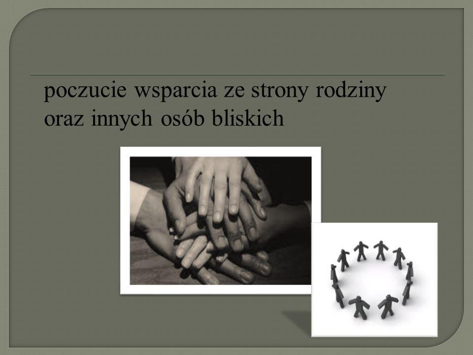 poczucie wsparcia ze strony rodziny oraz innych osób bliskich