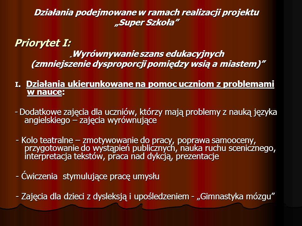 """Działania podejmowane w ramach realizacji projektu """"Super Szkoła"""