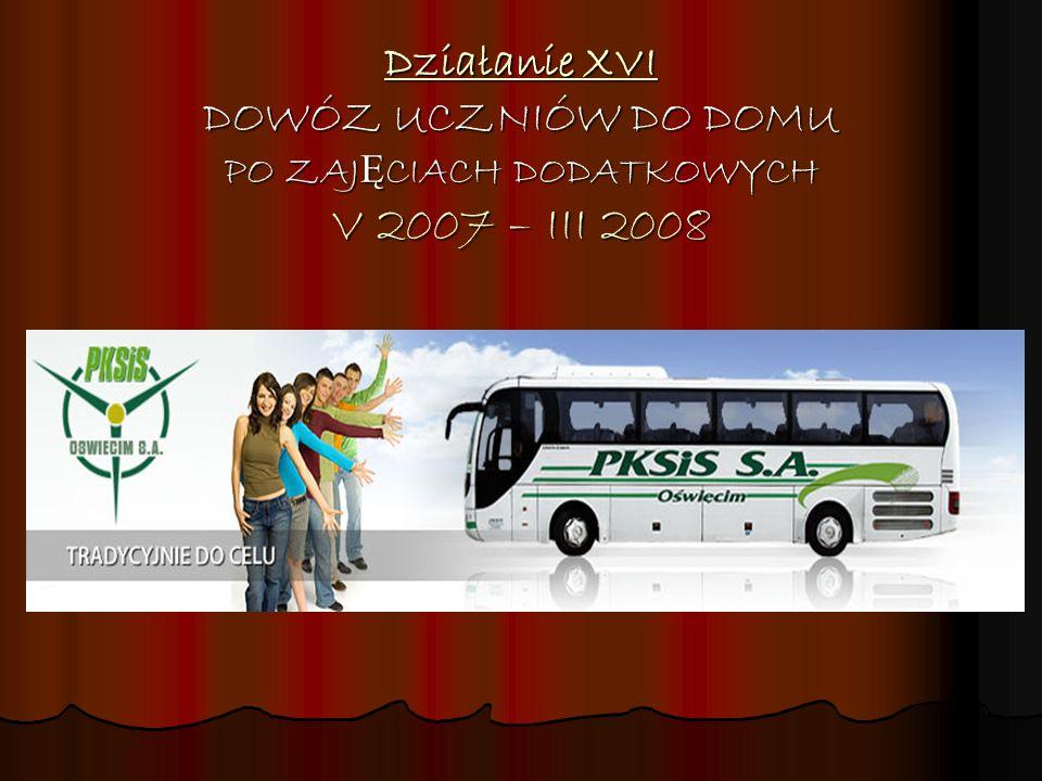 Działanie XVI DOWÓZ UCZNIÓW DO DOMU PO ZAJĘCIACH DODATKOWYCH V 2007 – III 2008