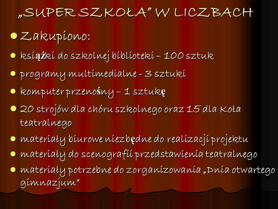 """""""SUPER SZKOŁA W LICZBACH"""