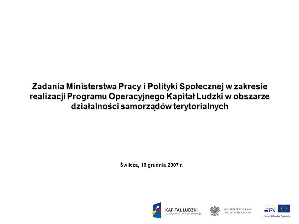 Zadania Ministerstwa Pracy i Polityki Społecznej w zakresie realizacji Programu Operacyjnego Kapitał Ludzki w obszarze działalności samorządów terytorialnych