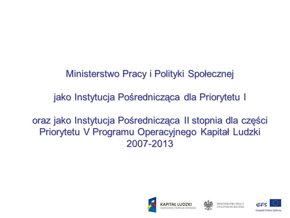 Ministerstwo Pracy i Polityki Społecznej jako Instytucja Pośrednicząca dla Priorytetu I oraz jako Instytucja Pośrednicząca II stopnia dla części Priorytetu V Programu Operacyjnego Kapitał Ludzki 2007-2013