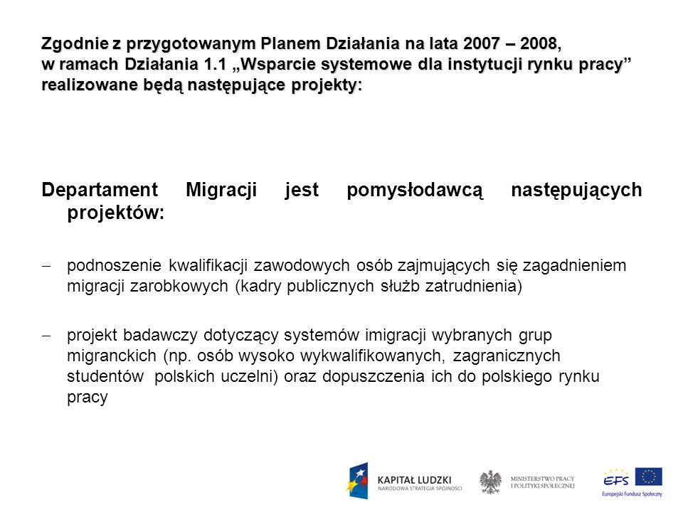 Departament Migracji jest pomysłodawcą następujących projektów: