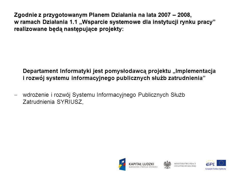"""Zgodnie z przygotowanym Planem Działania na lata 2007 – 2008, w ramach Działania 1.1 """"Wsparcie systemowe dla instytucji rynku pracy realizowane będą następujące projekty:"""