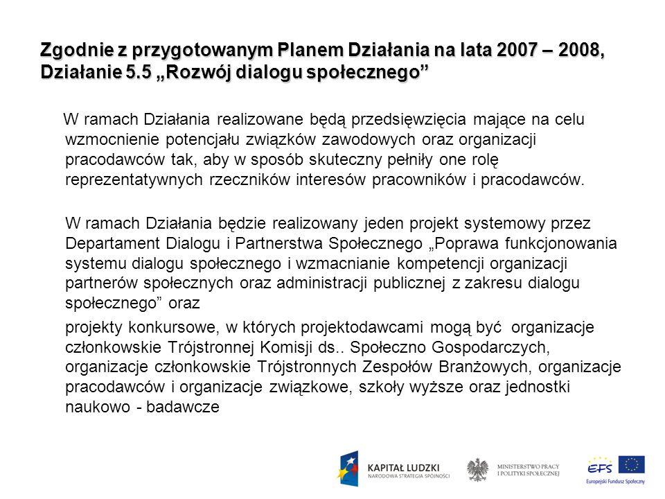 """Zgodnie z przygotowanym Planem Działania na lata 2007 – 2008, Działanie 5.5 """"Rozwój dialogu społecznego"""