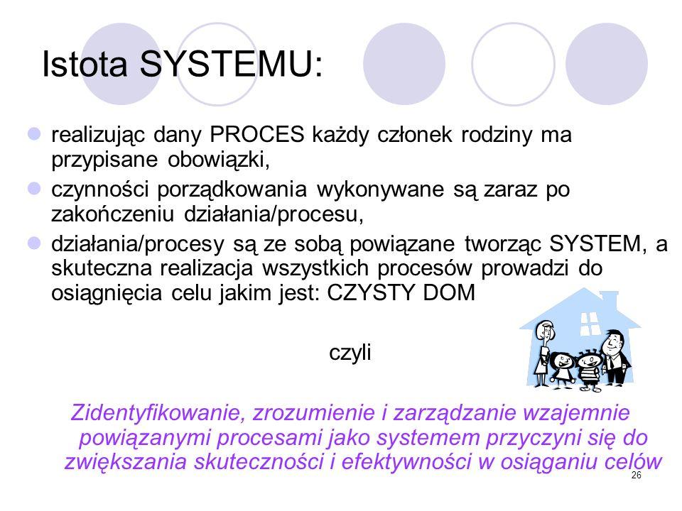 Istota SYSTEMU: realizując dany PROCES każdy członek rodziny ma przypisane obowiązki,