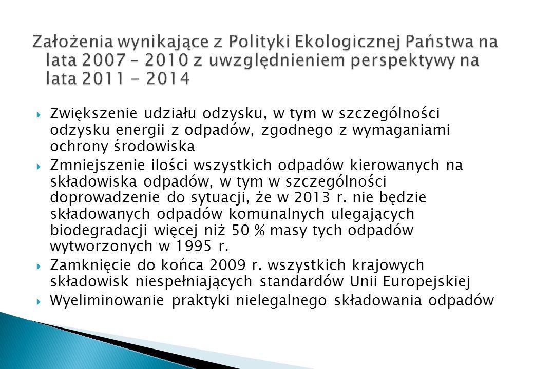 Założenia wynikające z Polityki Ekologicznej Państwa na lata 2007 – 2010 z uwzględnieniem perspektywy na lata 2011 - 2014