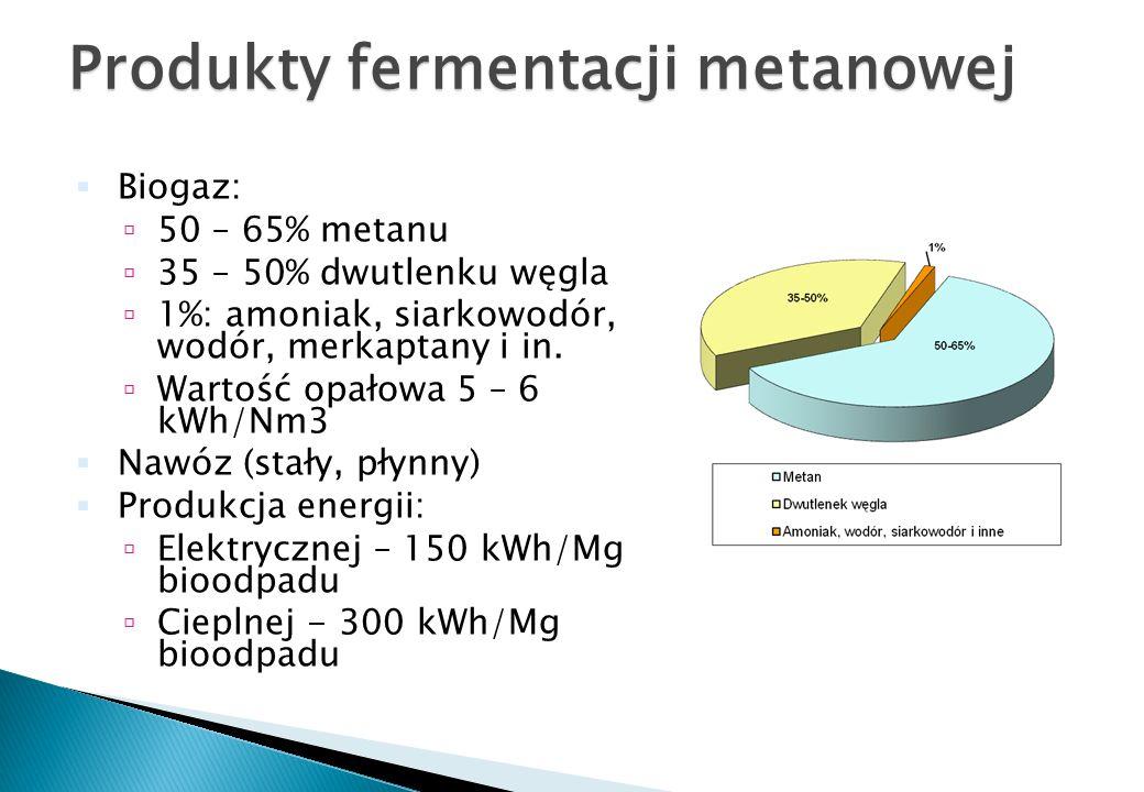 Produkty fermentacji metanowej