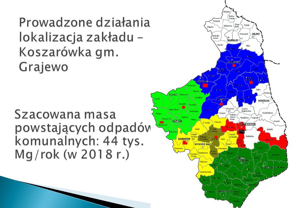 Prowadzone działania: lokalizacja zakładu – Koszarówka gm. Grajewo