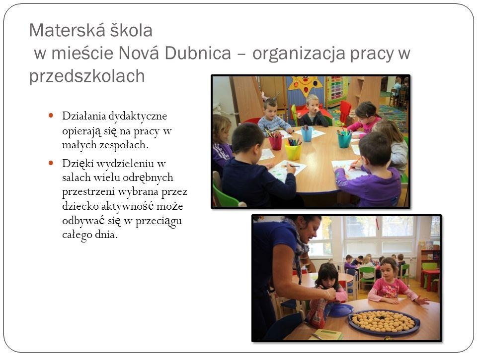 Materská škola w mieście Nová Dubnica – organizacja pracy w przedszkolach
