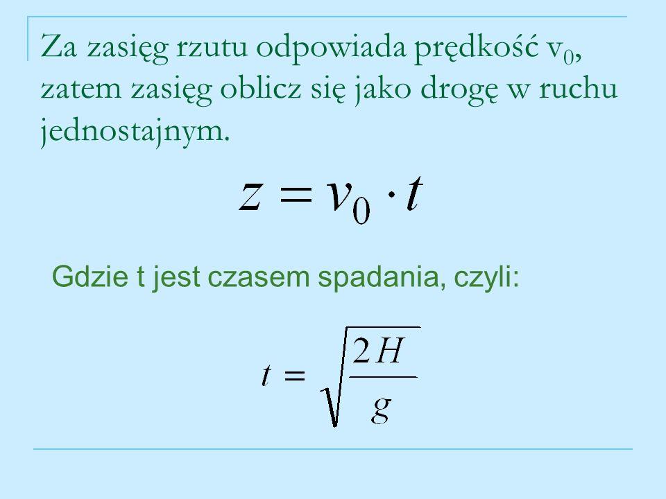 Za zasięg rzutu odpowiada prędkość v0, zatem zasięg oblicz się jako drogę w ruchu jednostajnym.
