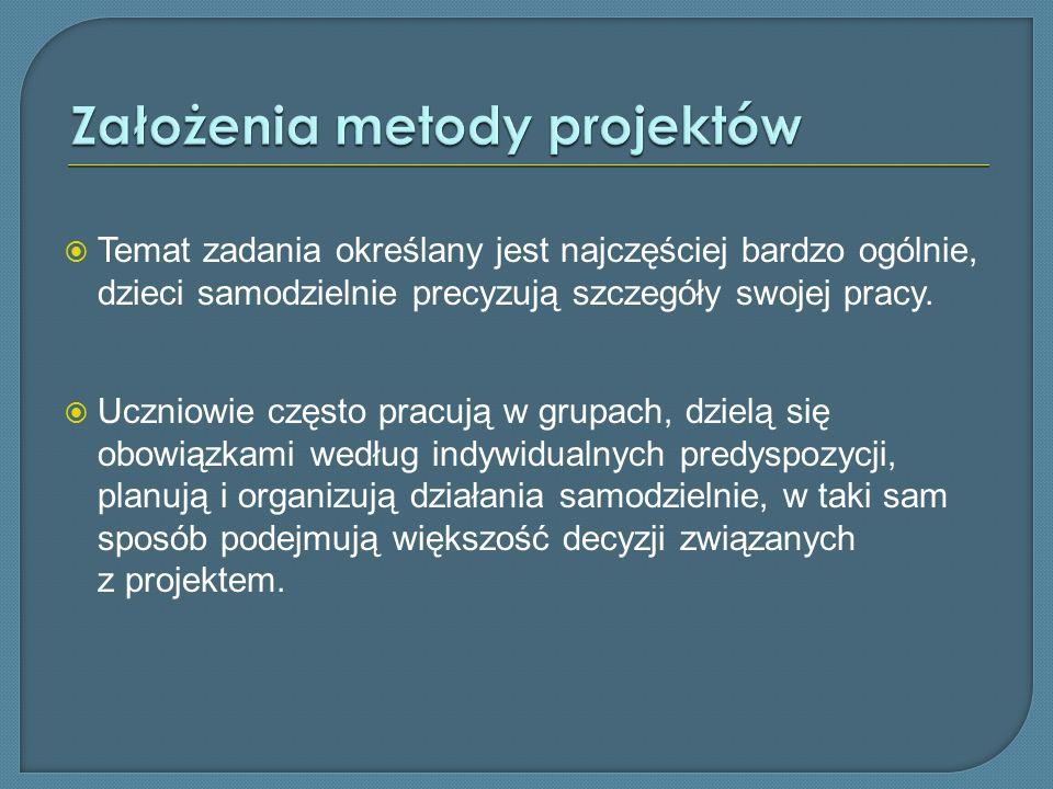 Założenia metody projektów