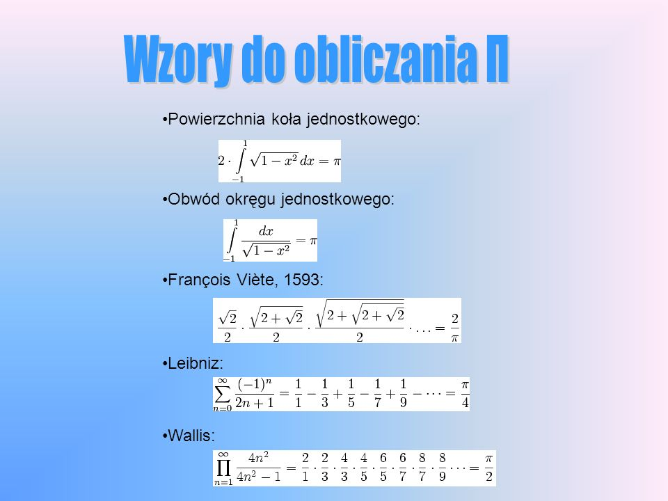Wzory do obliczania Π Powierzchnia koła jednostkowego: