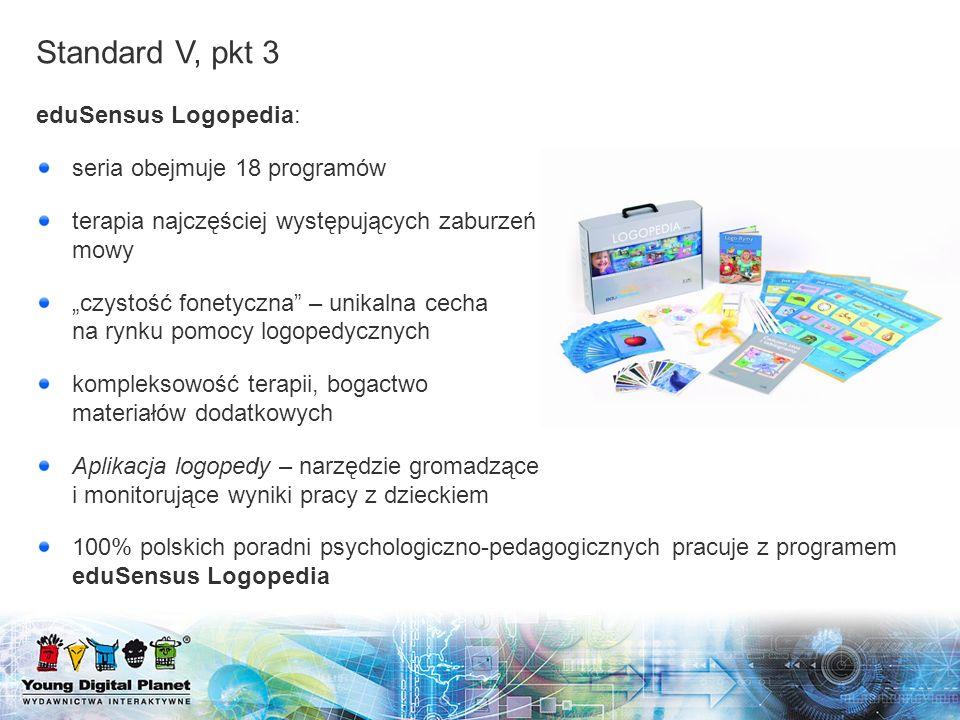 Standard V, pkt 3 eduSensus Logopedia: seria obejmuje 18 programów