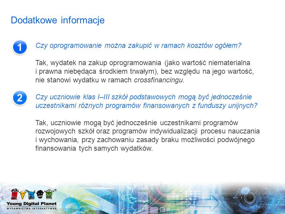 Dodatkowe informacje 1. Czy oprogramowanie można zakupić w ramach kosztów ogółem