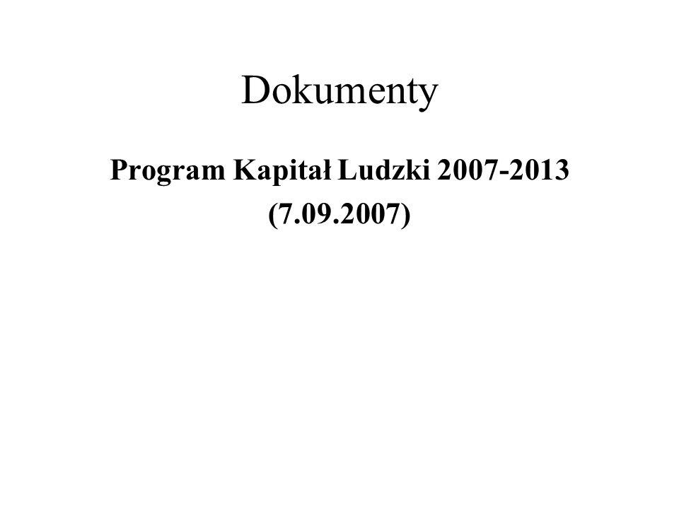 Program Kapitał Ludzki 2007-2013 (7.09.2007)