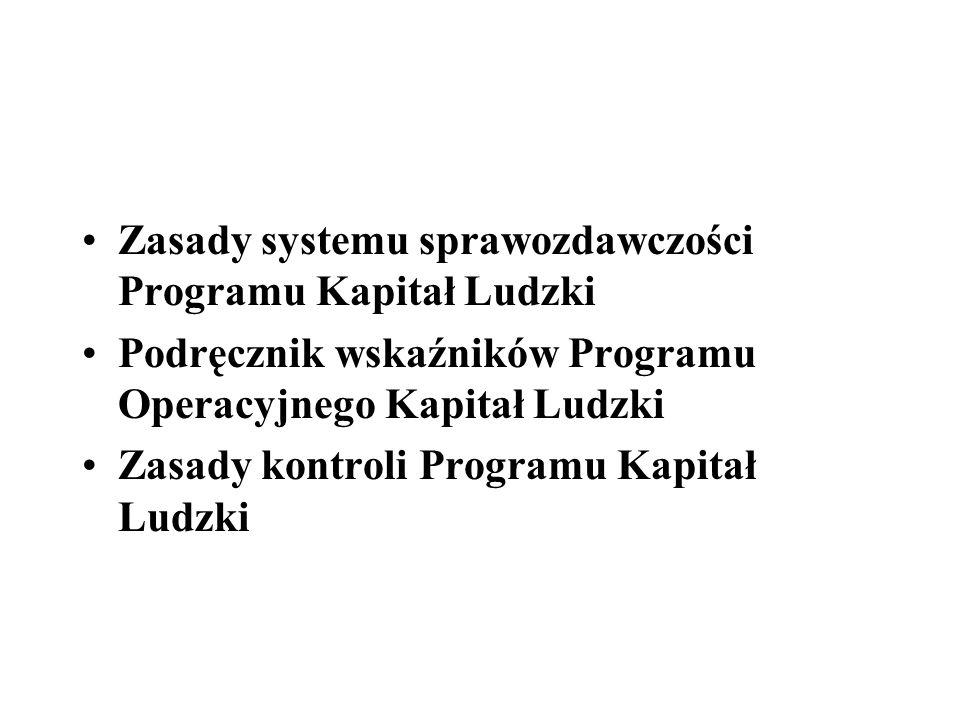 Zasady systemu sprawozdawczości Programu Kapitał Ludzki