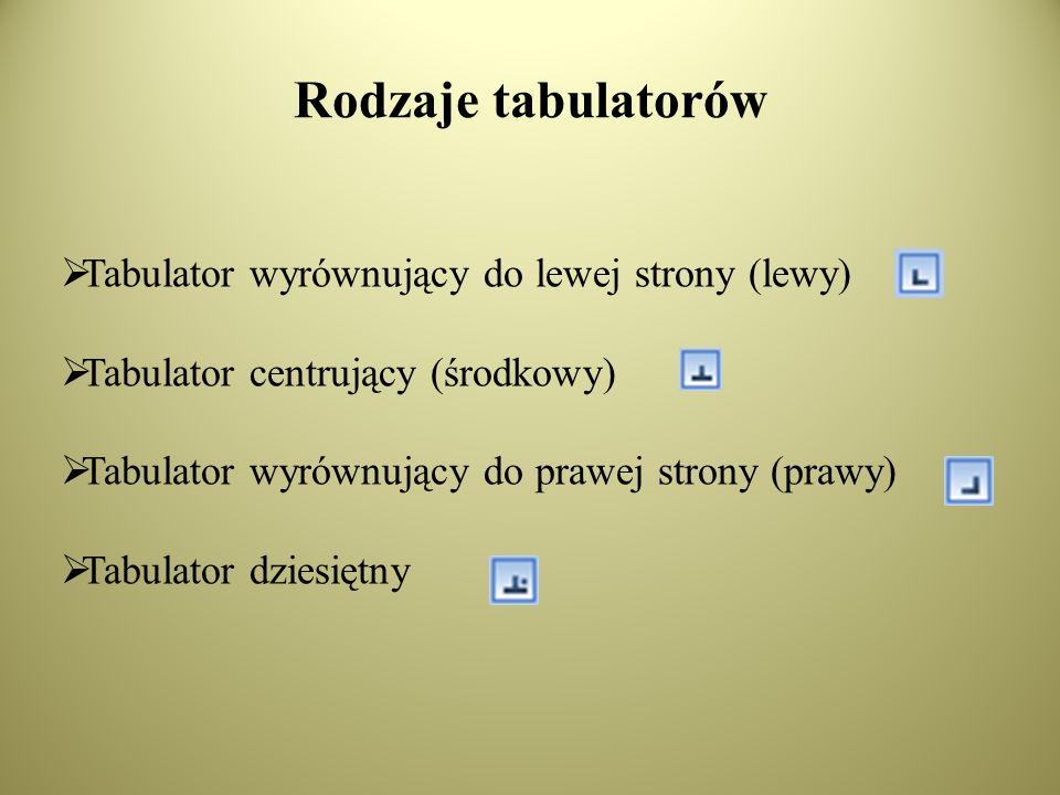 Rodzaje tabulatorów Tabulator wyrównujący do lewej strony (lewy)