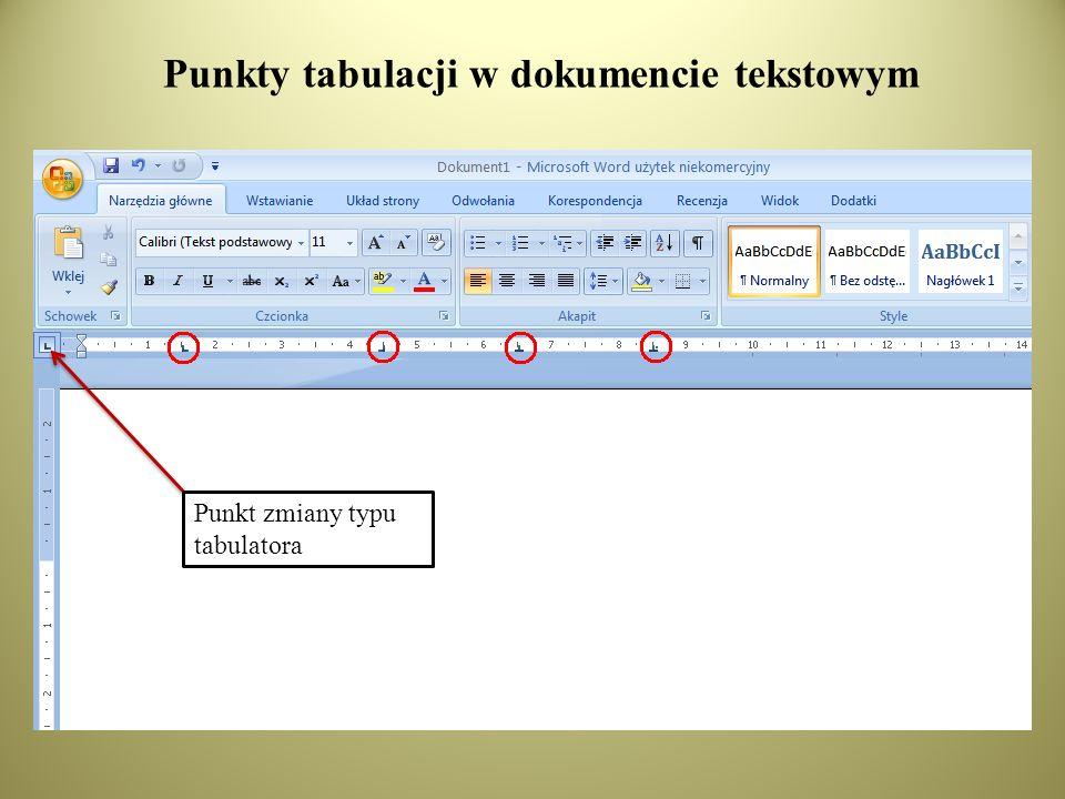 Punkty tabulacji w dokumencie tekstowym