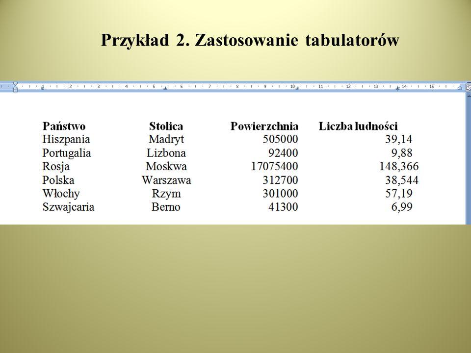 Przykład 2. Zastosowanie tabulatorów
