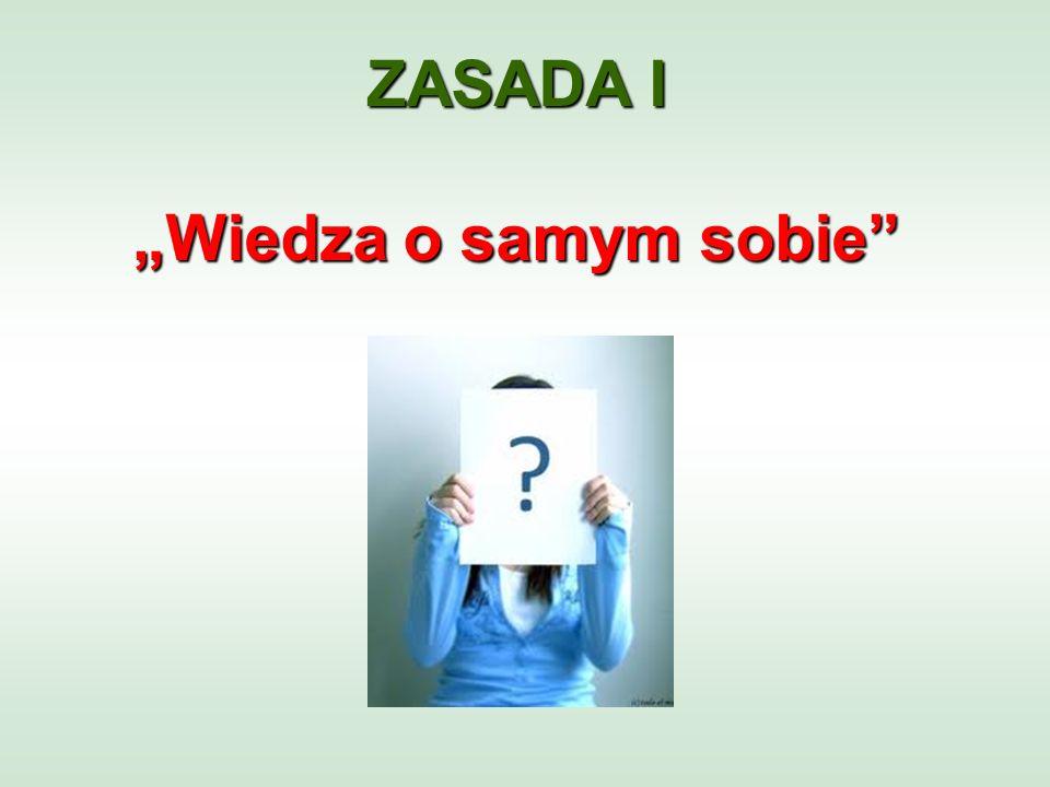 """ZASADA I """"Wiedza o samym sobie"""