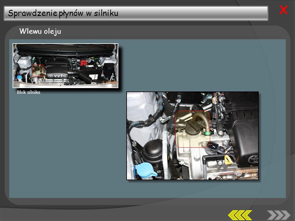 X Sprawdzenie płynów w silniku Wlewu oleju Blok silnika