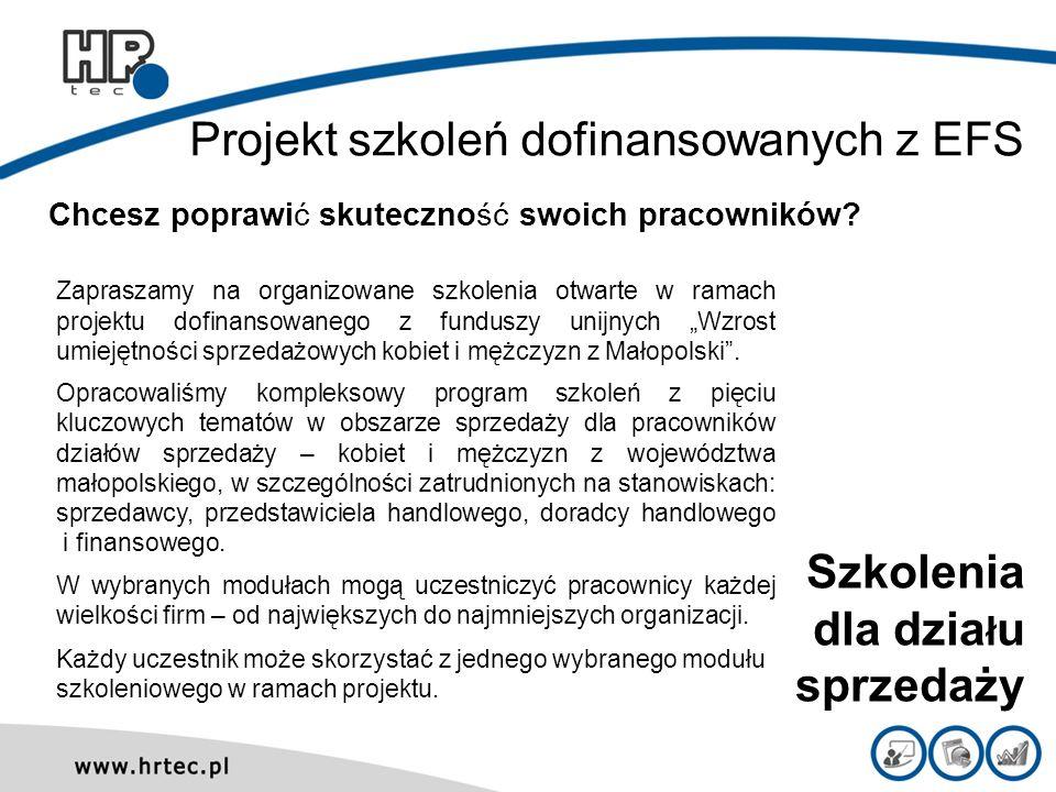 Projekt szkoleń dofinansowanych z EFS