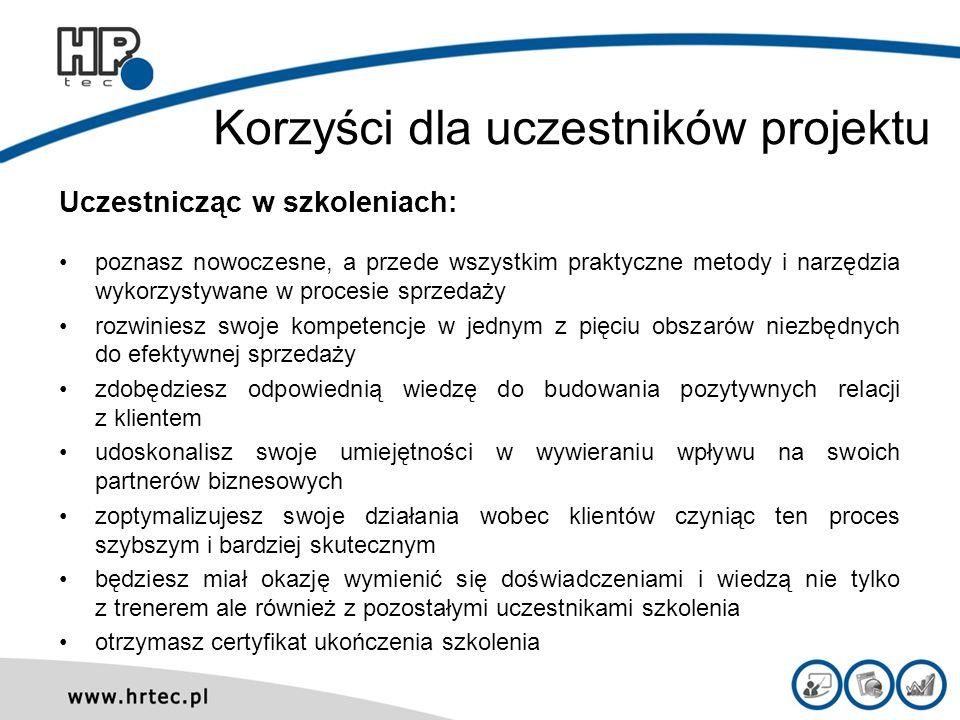 Korzyści dla uczestników projektu
