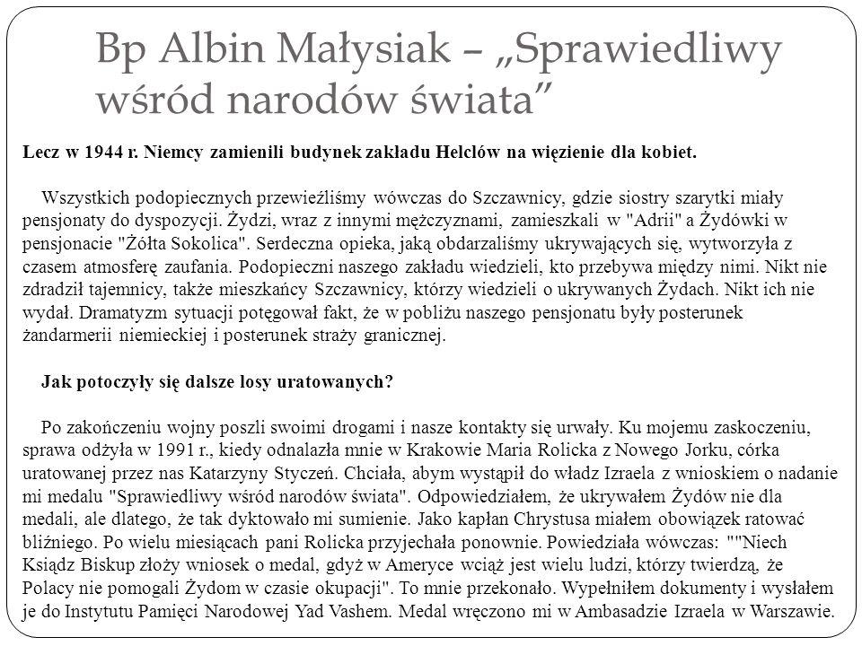 """Bp Albin Małysiak – """"Sprawiedliwy wśród narodów świata"""