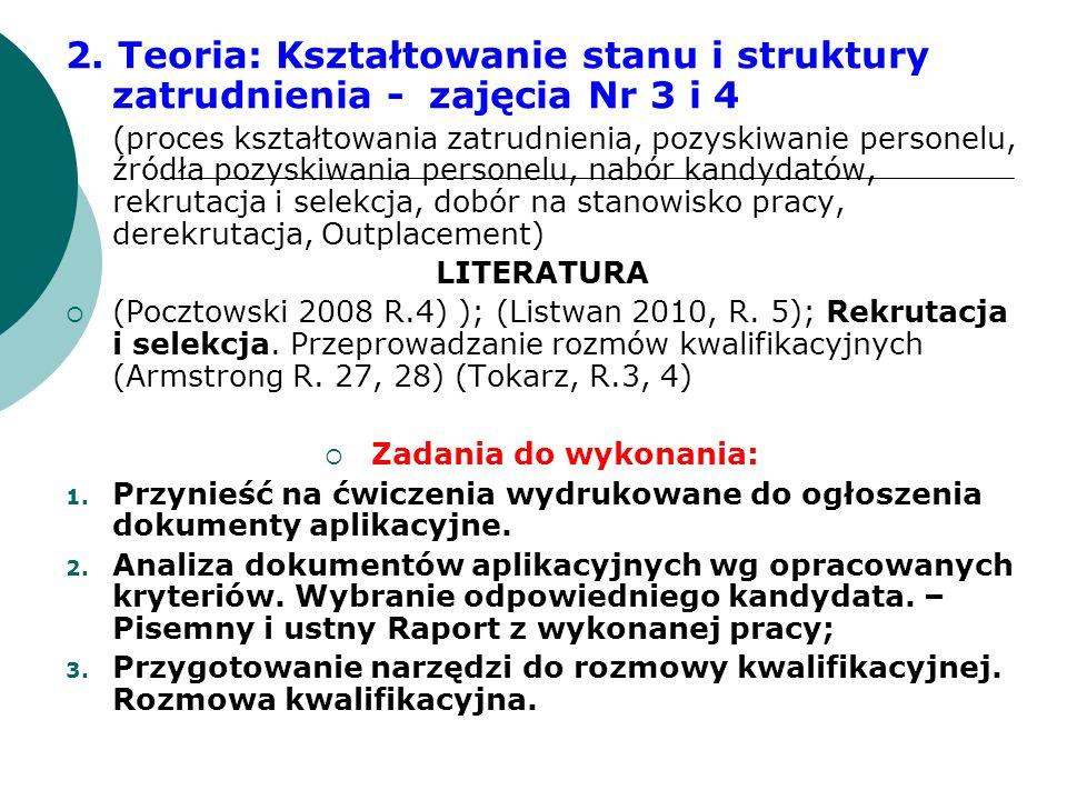 2. Teoria: Kształtowanie stanu i struktury zatrudnienia - zajęcia Nr 3 i 4